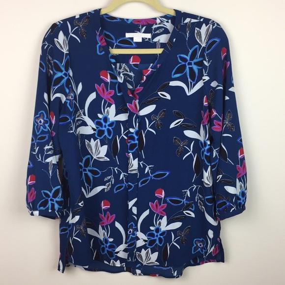 C & E Tops - C & E - 3/4 Length Sleeve Floral Popover Blouse